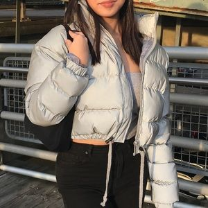 Grey Reflective Puffer Jacket